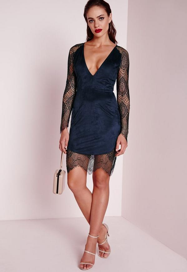 Lace Sleeve Faux Suede Bodycon Dress Navy