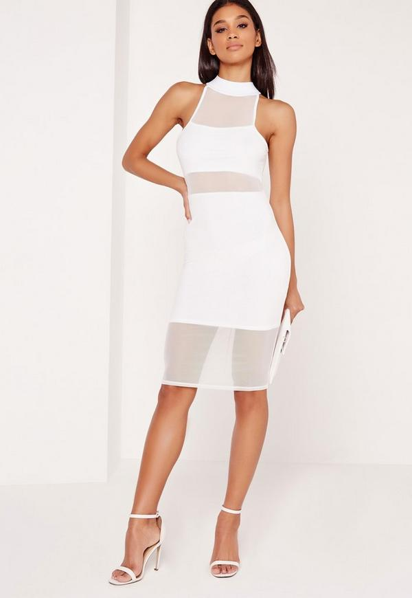 Mesh Midi Overlay Dress White