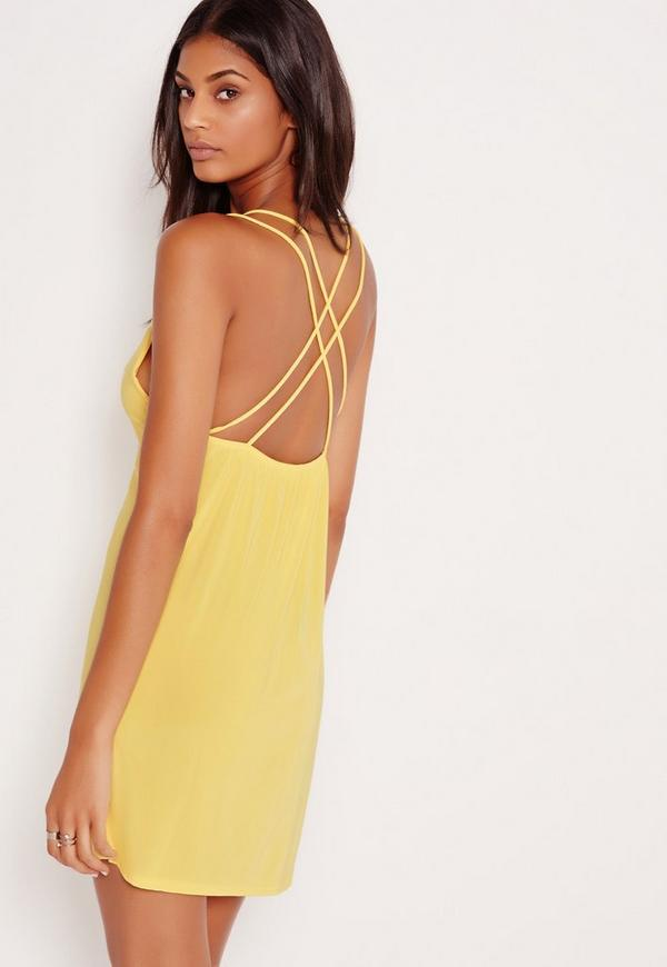 Double Strap Extreme Plunge Shift Dress Yellow