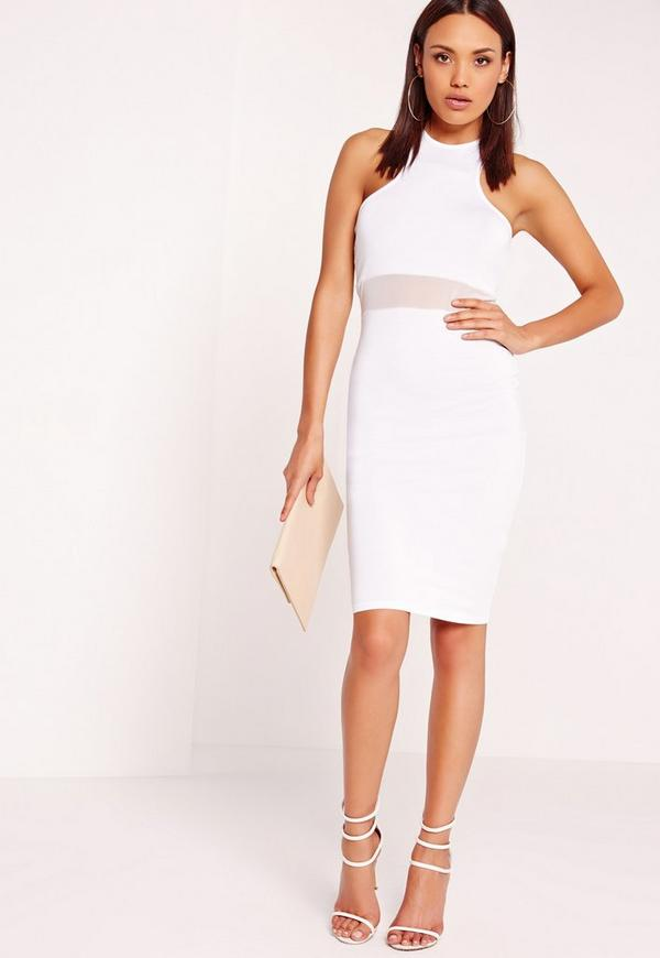 Mesh Waist Jersey Midi Dress White