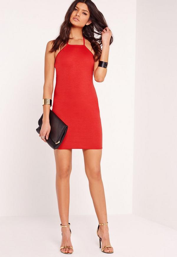 T-Bar Back Ponte Bodycon Dress Red