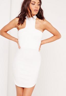 Halter Neck Curve Hem Bodycon Dress White