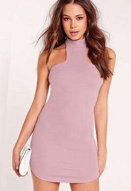 Choker Curve Hem Bodycon Dress Purple