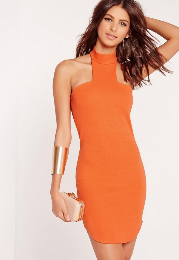 Curve Hem Choker Bodycon Dress Orange
