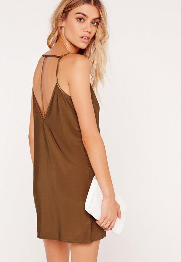 Strappy Back Slinky Shift Dress Tan