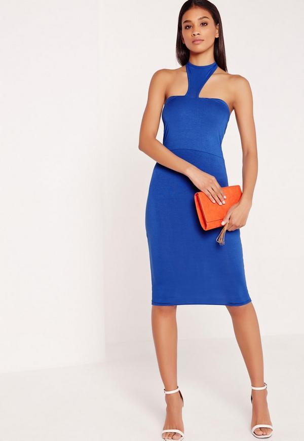 Jersey Halter Neck Bodycon Midi Dress Blue