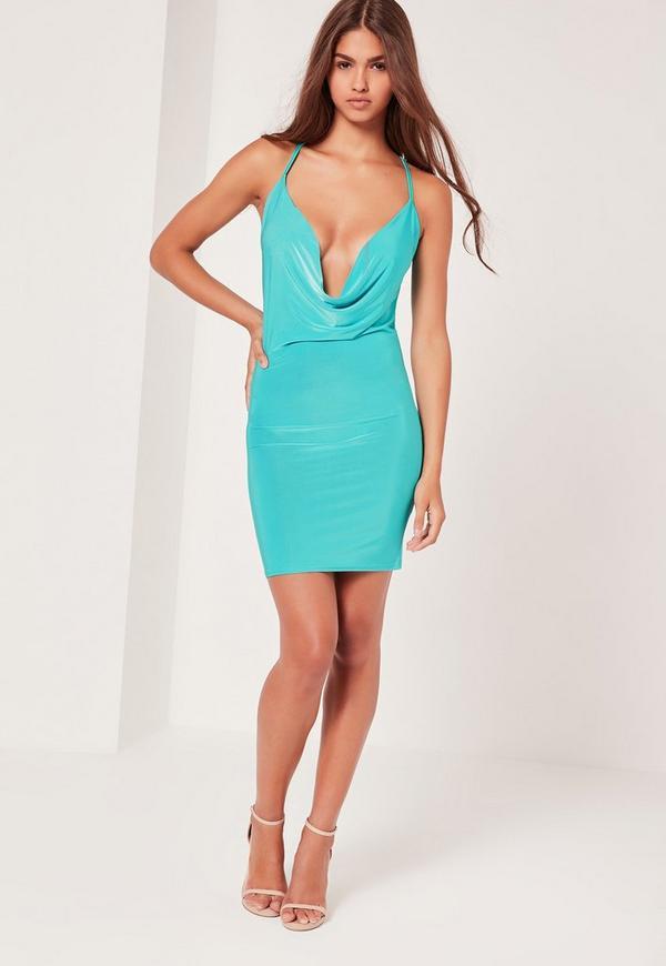 Cowl Front & Back Dress Blue