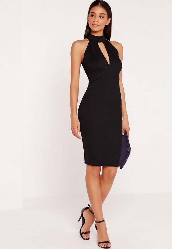 Choker Crepe Plunge Midi Dress Black