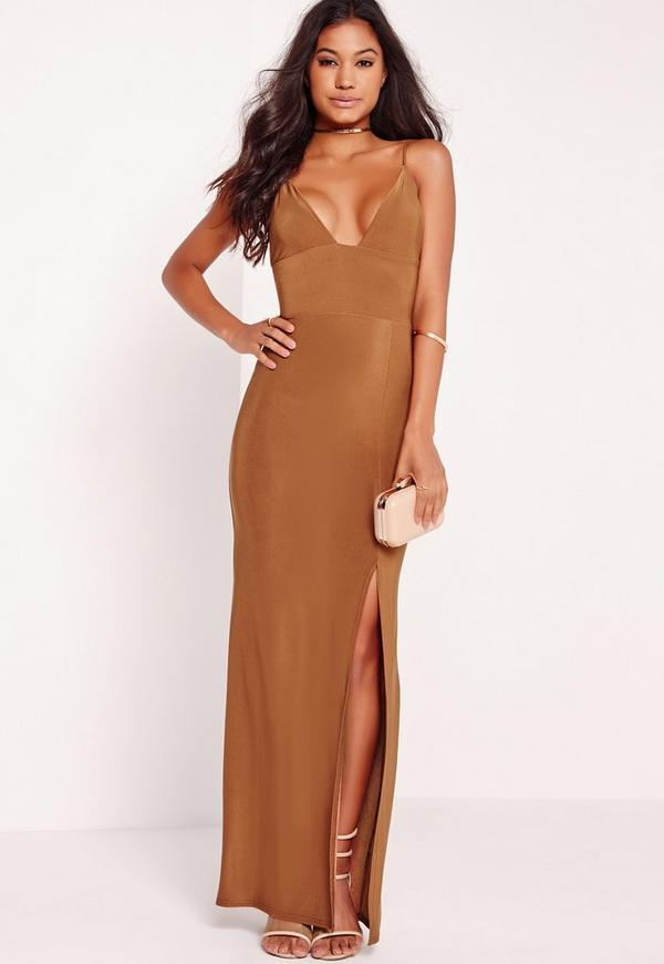 Plunge Split Front Slinky Maxi Dress Bronze