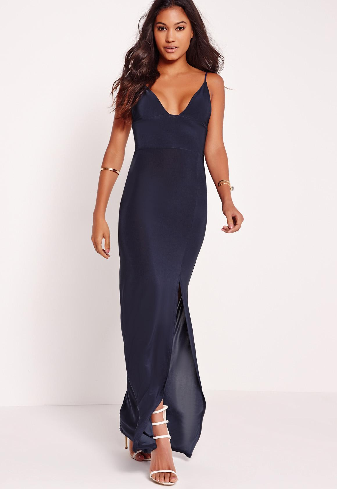 Plunge maxi dress with split