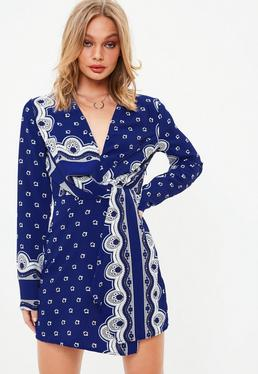 Blue Wrap Shift Print Dress