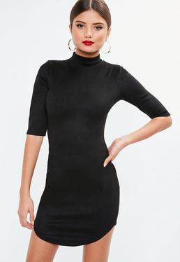 Black High Neck Bonded Suede Mini Dress