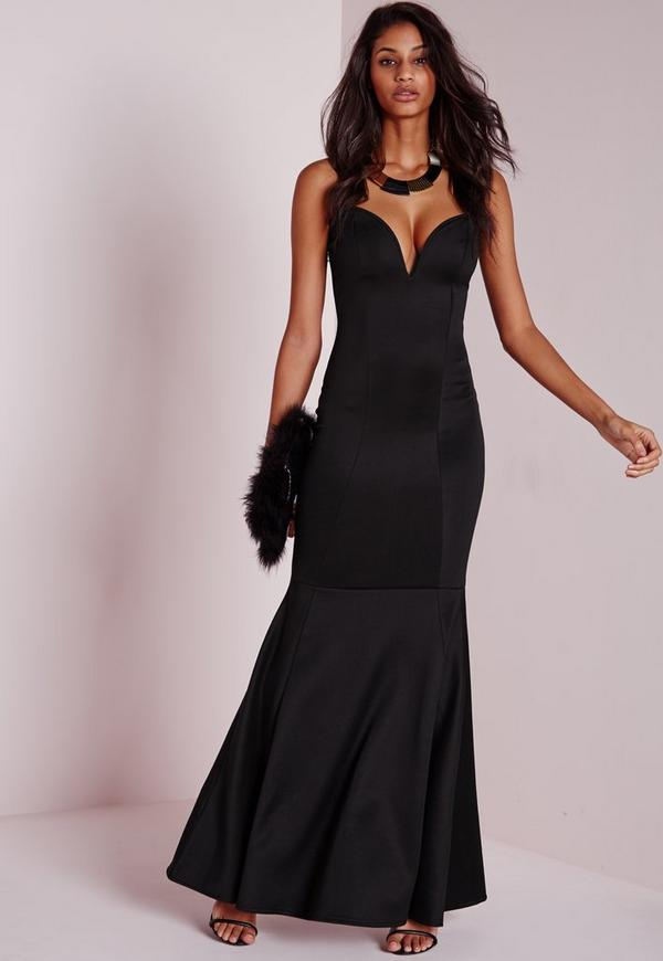Sweetheart Neck Maxi Dress Black