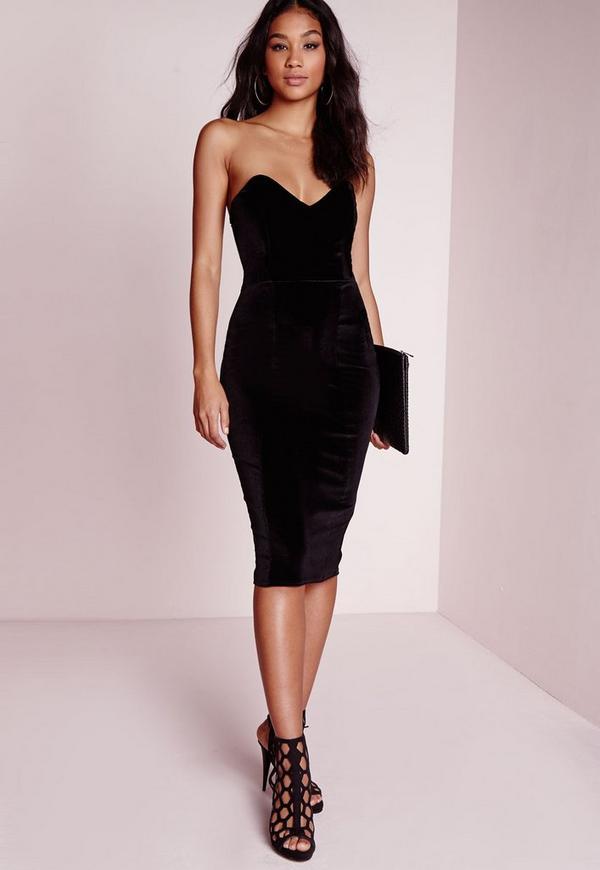 robe bustier moulante en velours noir missguided. Black Bedroom Furniture Sets. Home Design Ideas