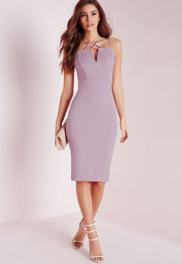Double Strap Cross Over Detail Bodycon Dress Mauve