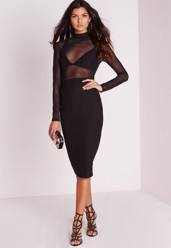 Long Sleeve Mesh Top Midi Dress Black