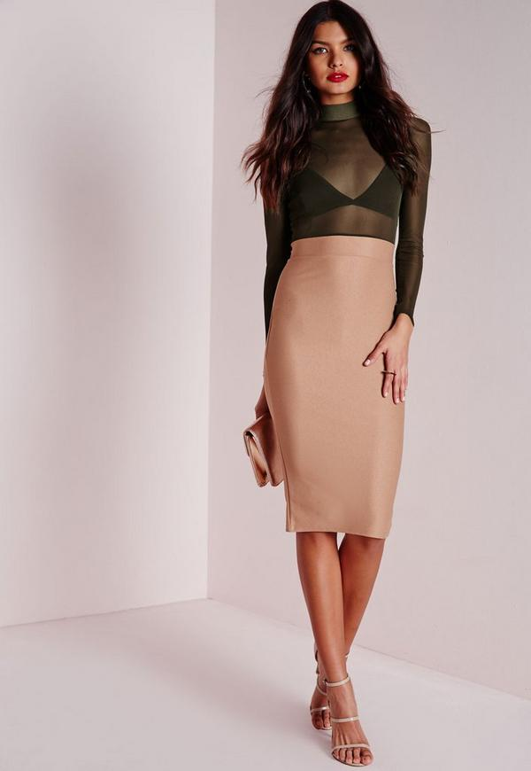 Long Sleeve Mesh Top Midi Dress Camel/Khaki