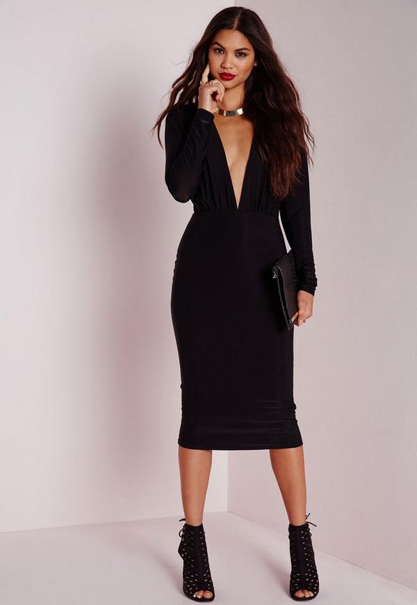 Long Sleeve Plunge Midi Dress Black