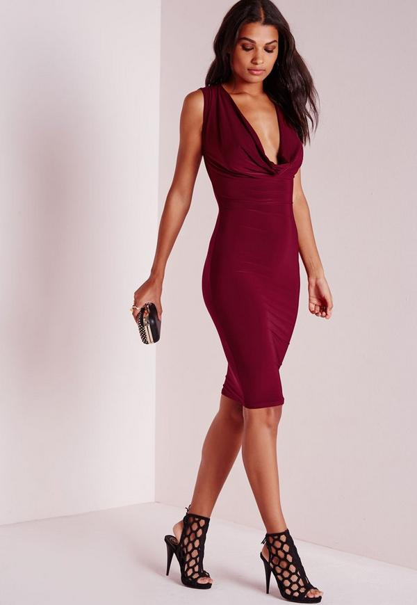 Slinky Cowl Front Midi Dress Burgundy