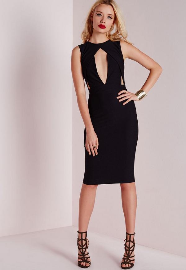 Cut Out Bust Midi Dress Black