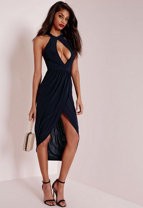 Keyhole Draped Midi Dress Navy