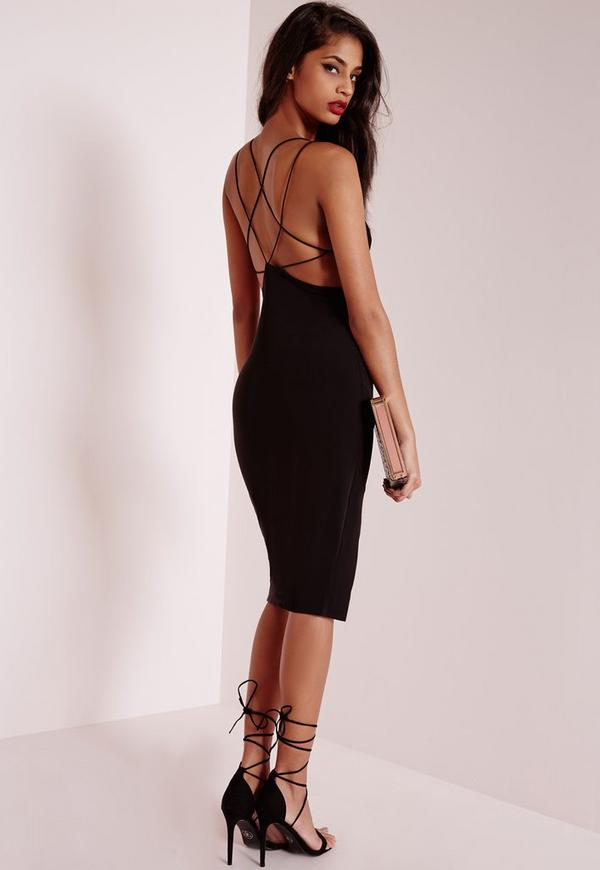 Star Back Strap Detail Midi Dress Black