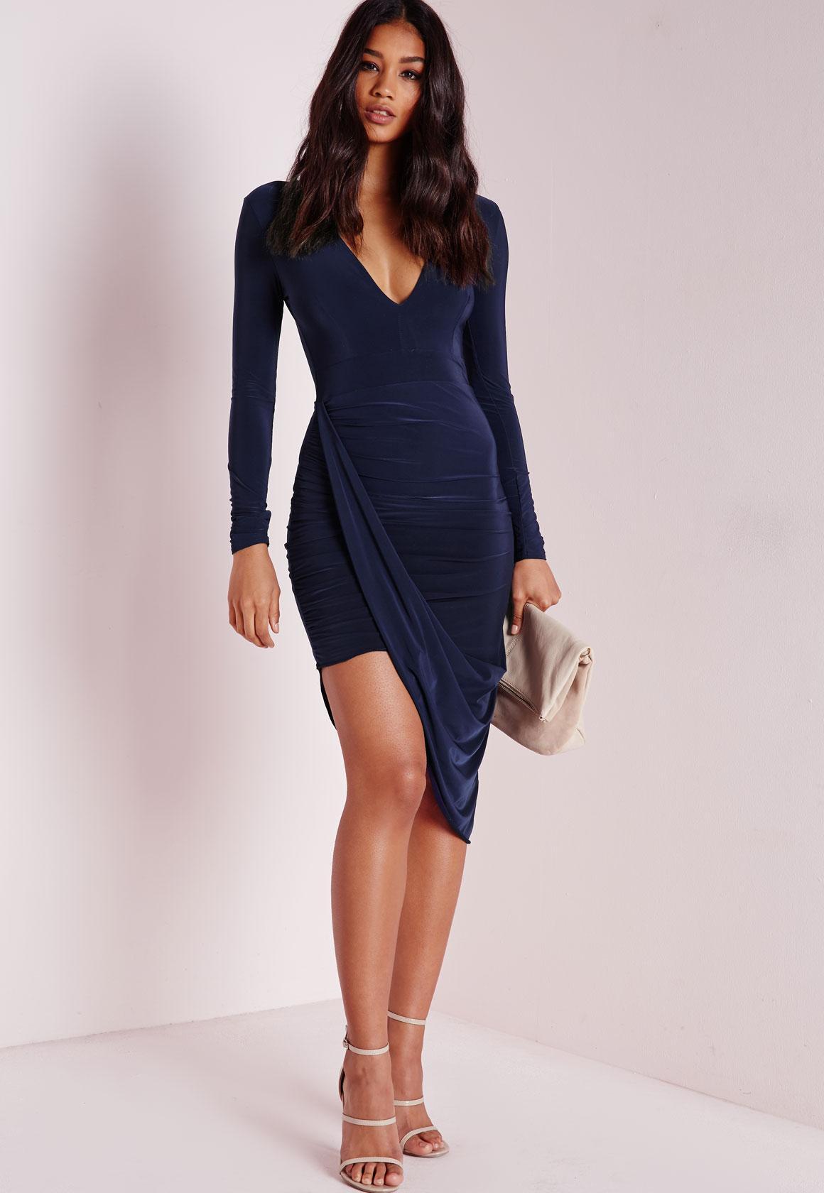 Plunge Asymmetric Wrap Dress Navy - Dresses - Midi Dresses ...