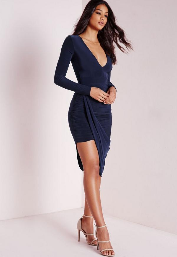 Plunge Asymmetric Wrap Dress Navy - Dresses - Midi Dresses ...