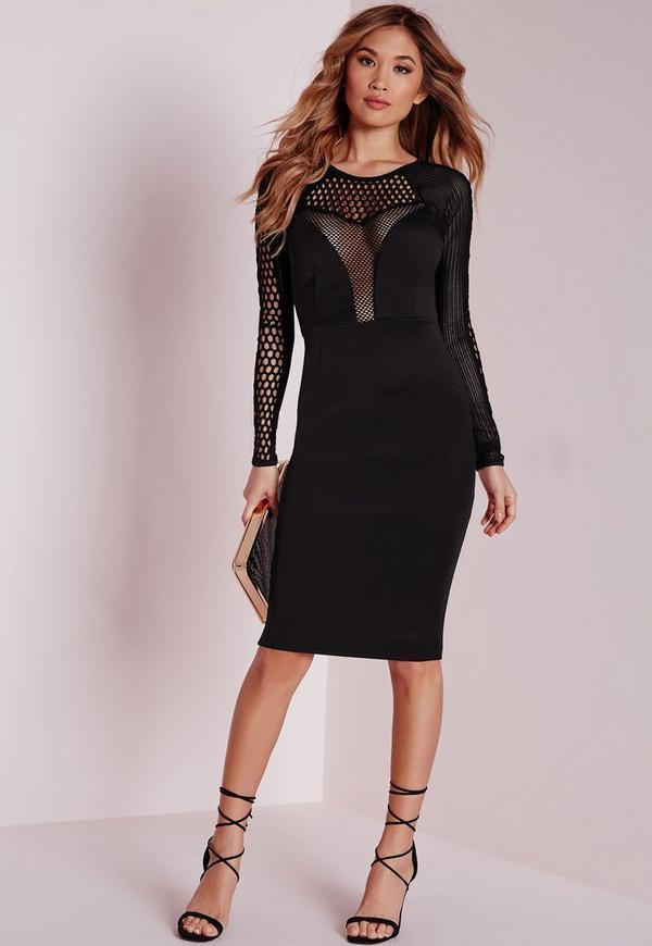Mesh Insert Long Sleeve Midi Dress Black