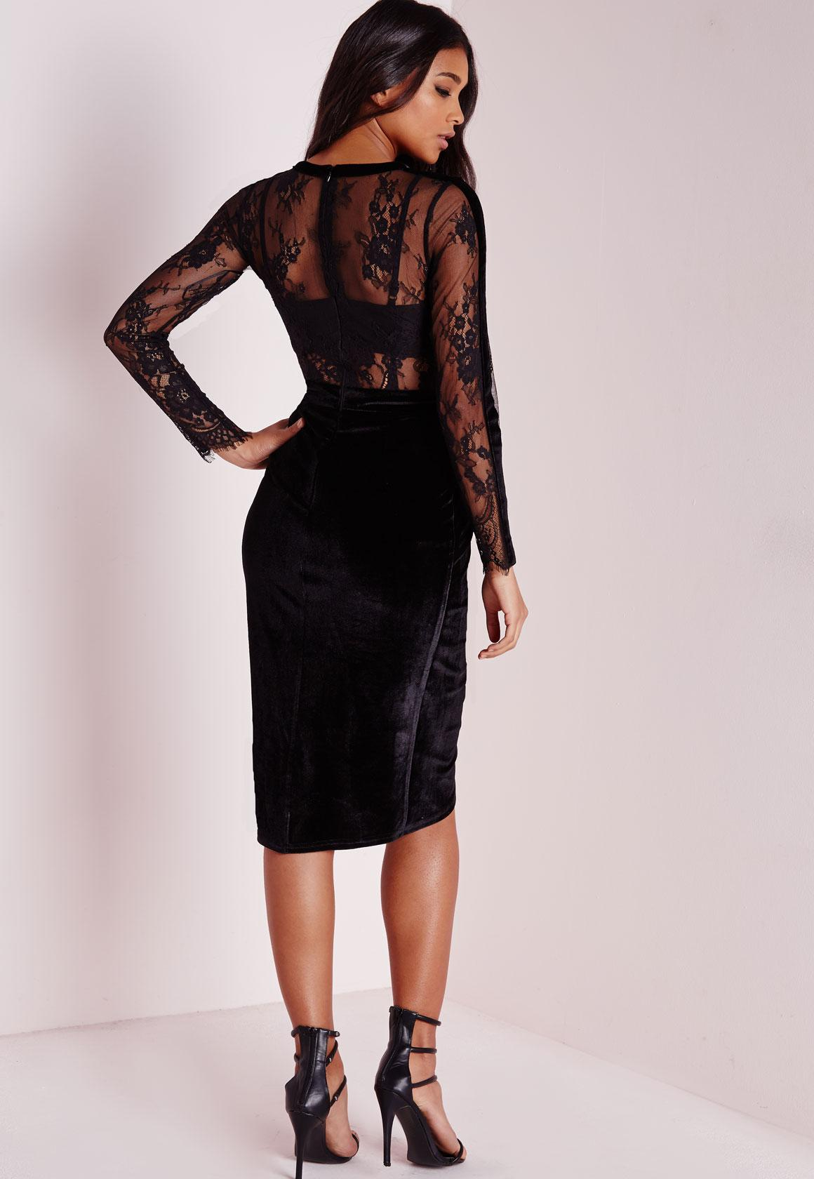 Lace and velvet midi dress
