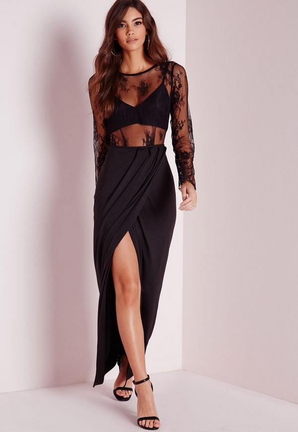 Sheer Lace Maxi  Dress Black