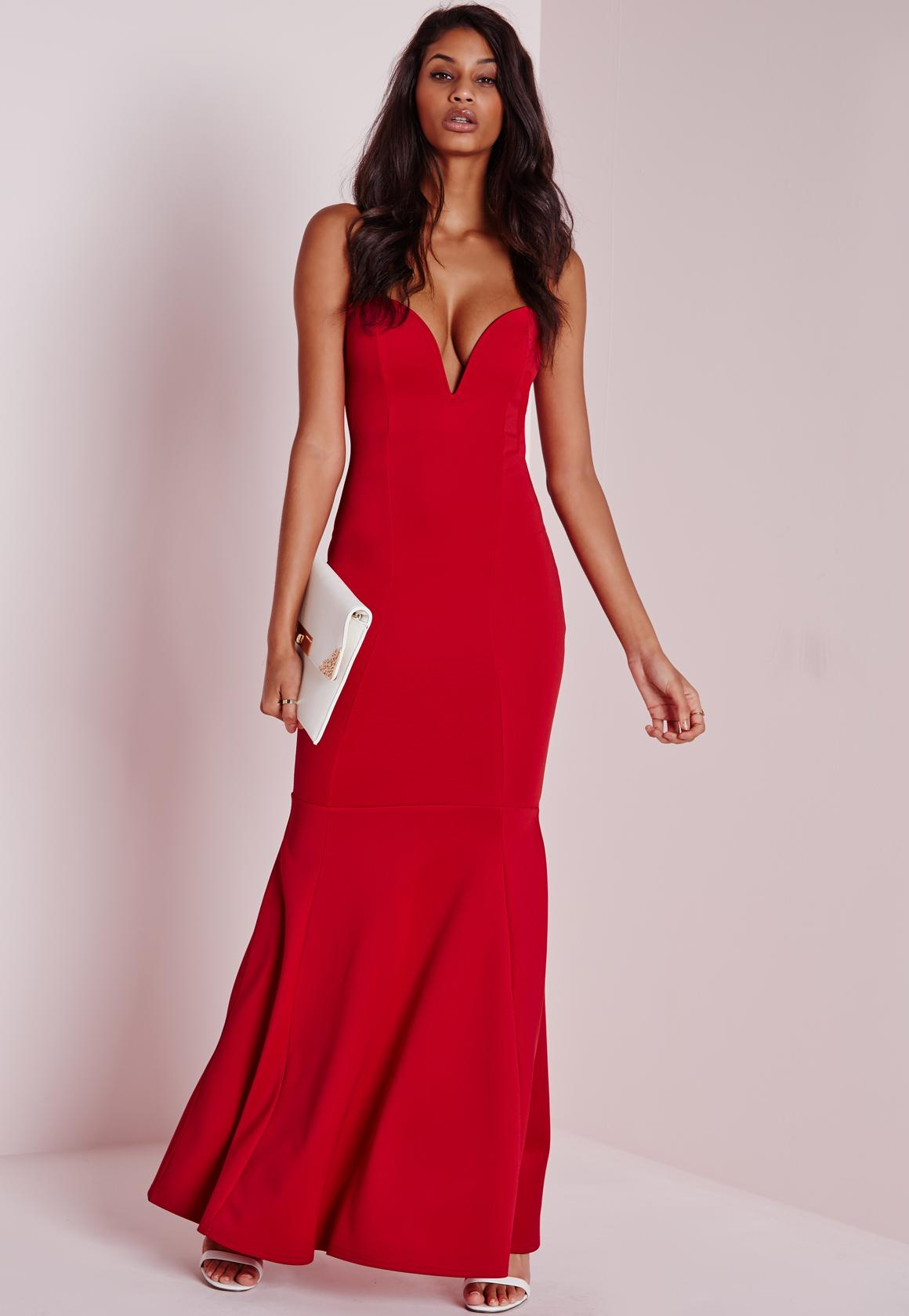 Sweetheart Neck Maxi Dress Red - Missguided