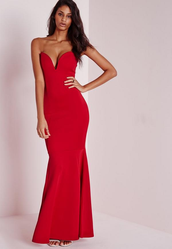 Sweetheart Neck Maxi Dress Red | Missguided
