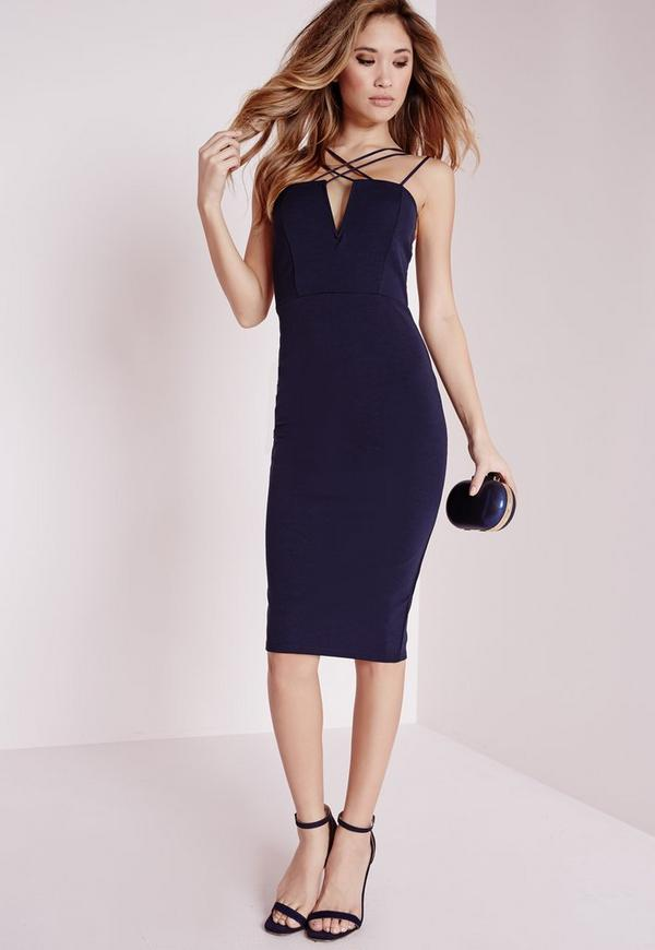 Double Strap Cross Over Detail Bodycon Dress Navy