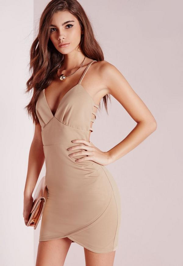 Back Detail Bodycon Wrap Dress Taupe