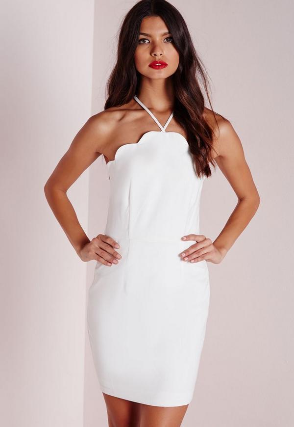 Scallop Bodycon Dress White