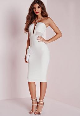 Textured Strappy Mesh Insert Midi Dress White