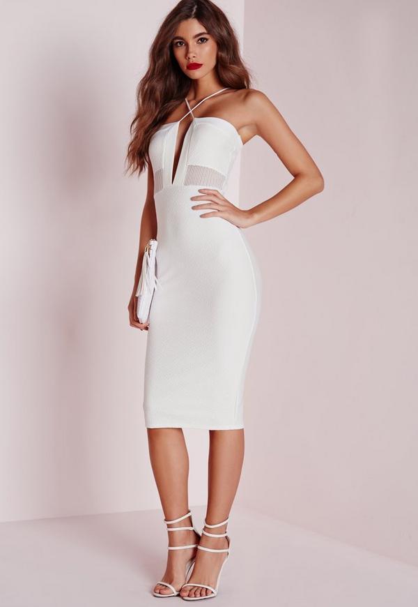 Textured Strappy Mesh Insert Midi Dress White