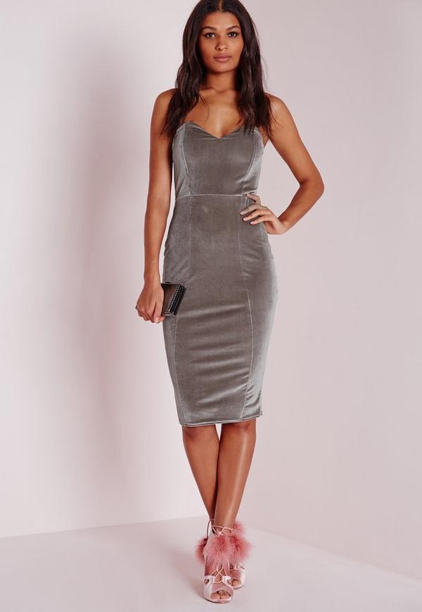 Velvet Bandeau Bodycon Dress Grey