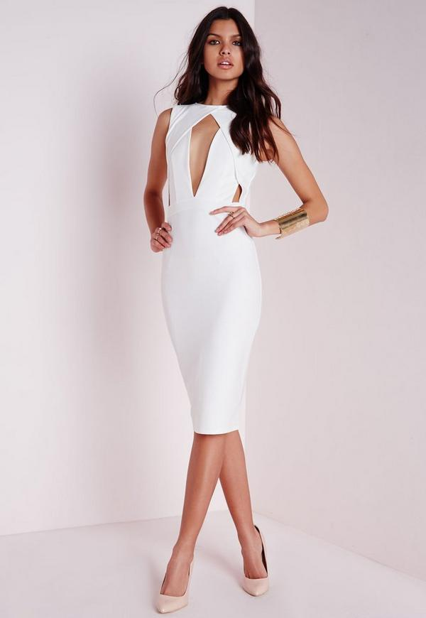 Cut Out Bust Midi Dress White