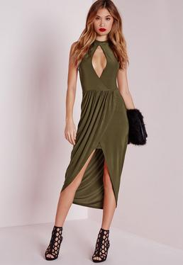 Keyhole Draped Midi Dress Khaki