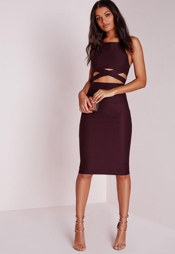 Cross Over Waist Midi Dress Dark Purple