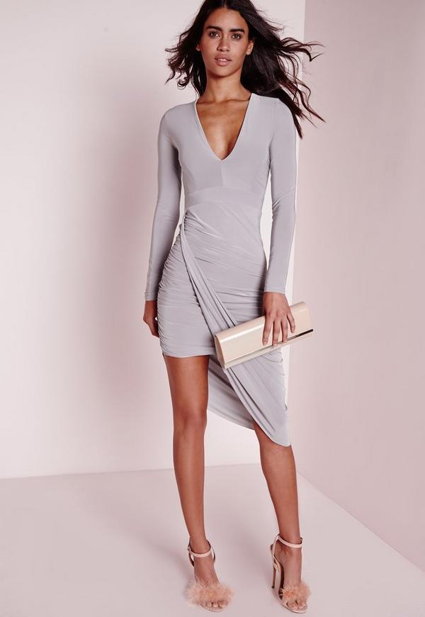 Plunge Aysmmetric Wrap Dress Grey
