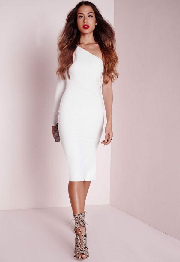 One Shoulder Zip Detail Midi Dress White
