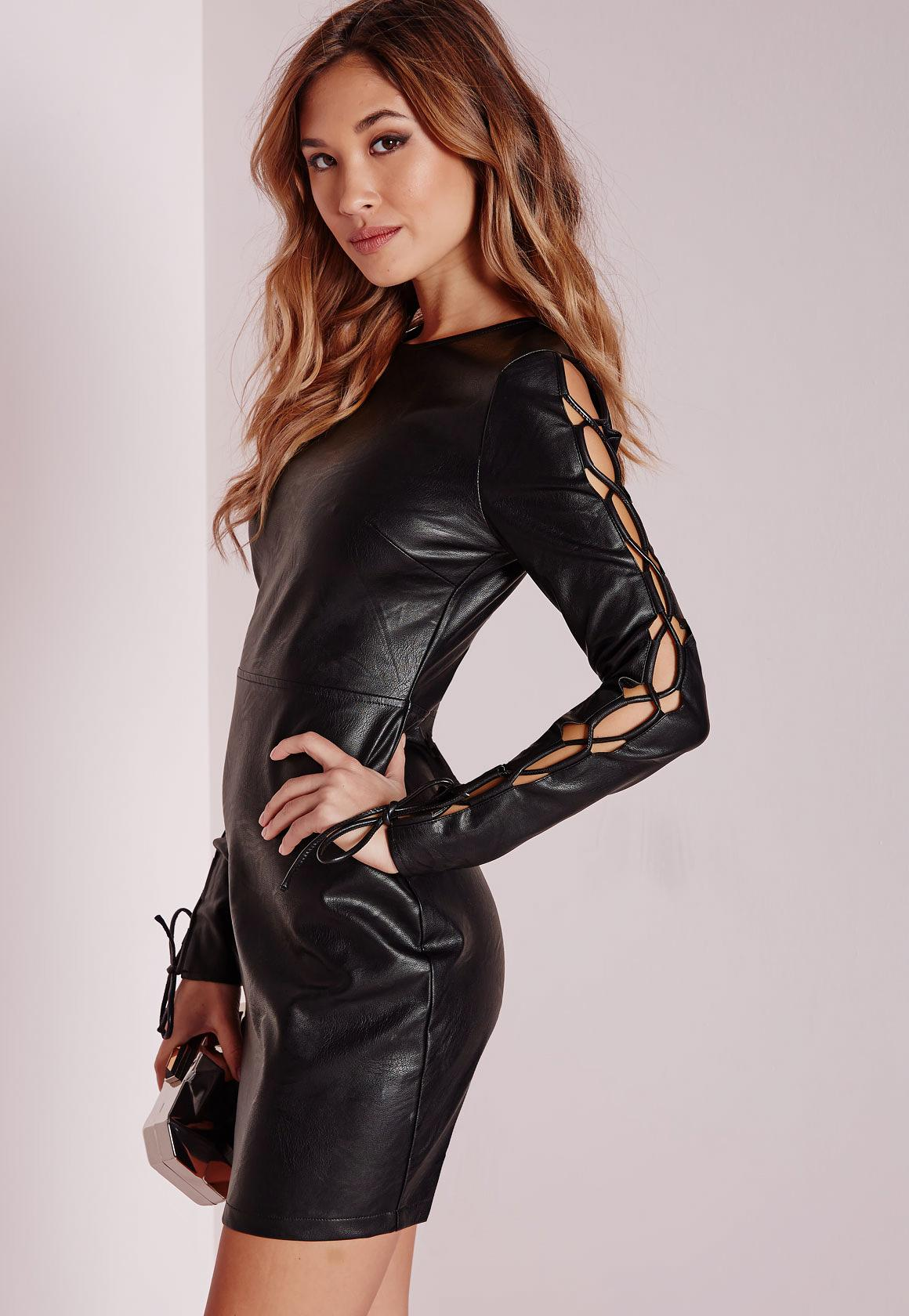 Faux Leather Lace Up Sleeve Bodycon Dress Black - Missguided
