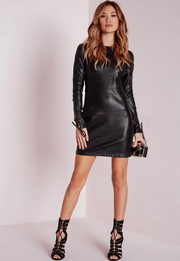 Faux leather lace up dress