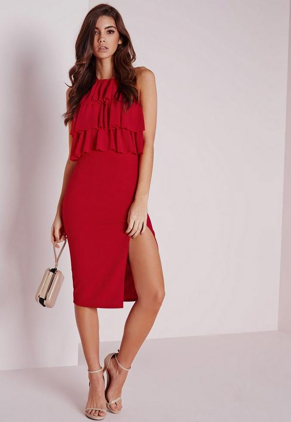 Ruffle Midi Dress Red