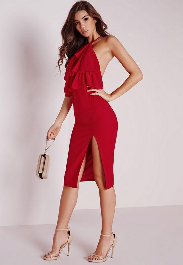 Ruffle Midi Dress Red | Missguided