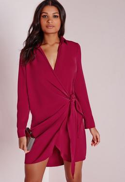 Crepe Wrap Shirt Dress Raspberry