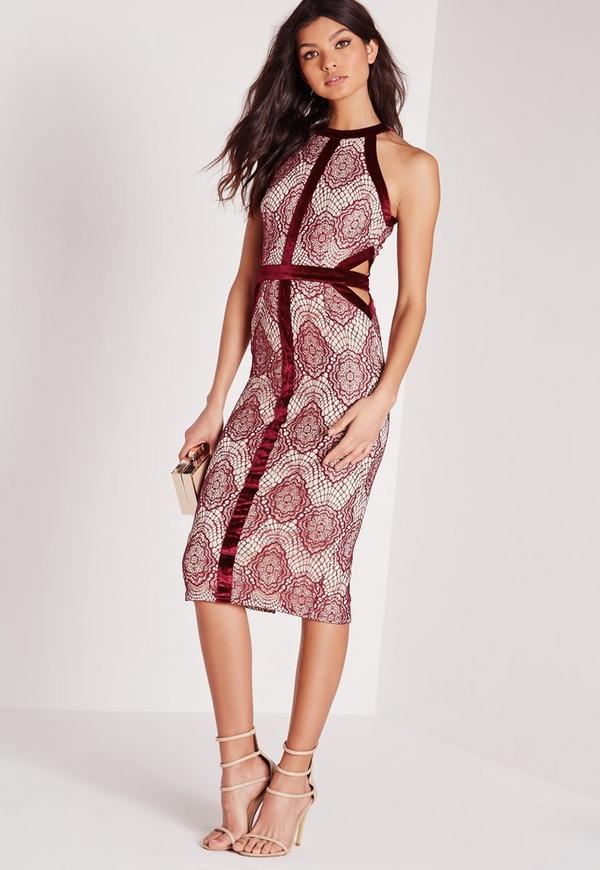 Velvet Binding Lace Midi Dress Burgundy